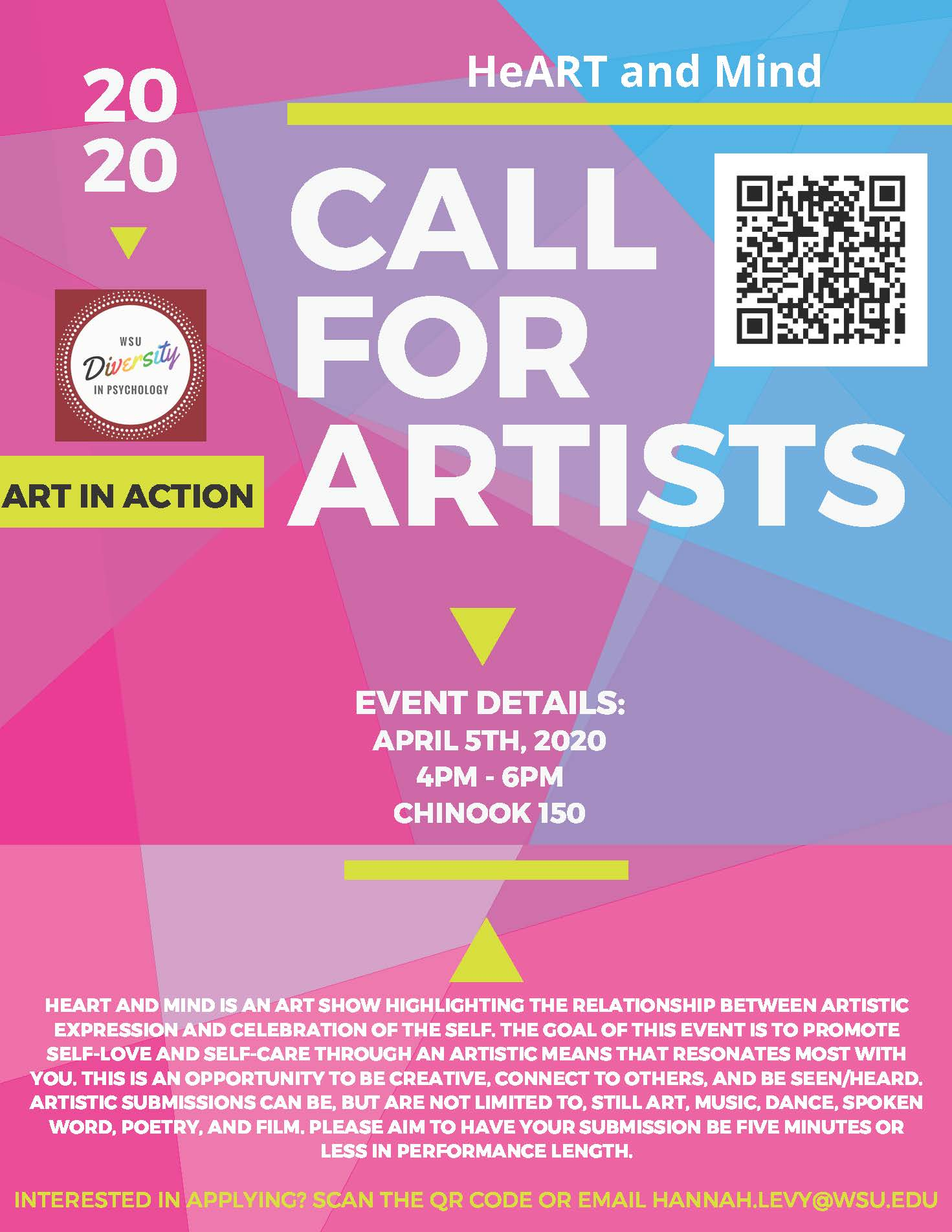 2020 Heart and Mind call for artist with event details. Details mirrored to the left of image